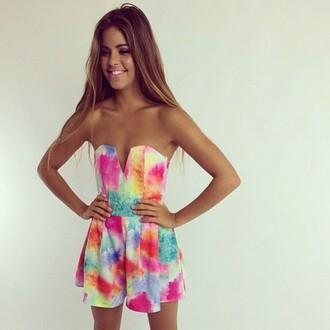 dress colourful colour colours rainbow fashion romper