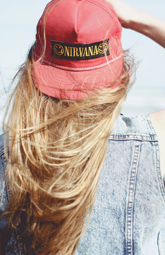 hat nirvana red hat festival grunge hair dye blue pastel hair