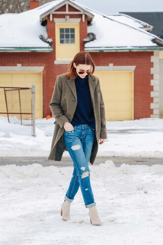 prosecco and plaid blogger coat winter coat ripped jeans winter boots red hair jeans shoes sweater
