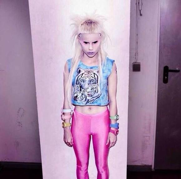 animal print die antwoord seapunk t-shirt shirt blue shirt tumblr outfit tumblr girly blonde hair