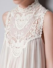 top,stylegasms,white,cream,off-white,high,high neck,renaissance,lace,blouse,halter top,dress,cover up,victorian,vintage,tunic,summer,spring,beach