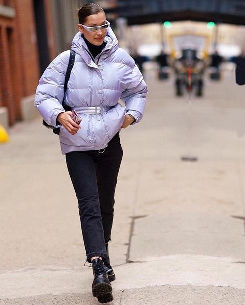 jacket lilac lilac jacket sunglasses boots belt black boots jeans denim black jeans bella hadid celebrity style