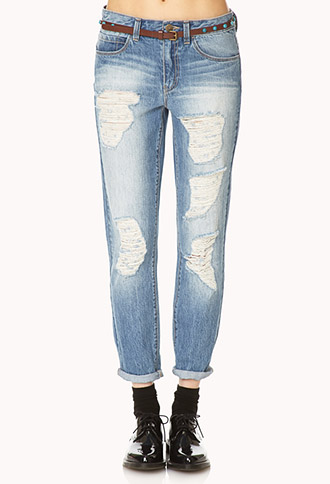 Distressed Boyfriend Jeans w/ Belt | FOREVER21 - 2000140296