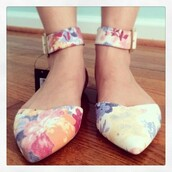 shoes,ankle strap flats,flats,cute,floral,ankle strap