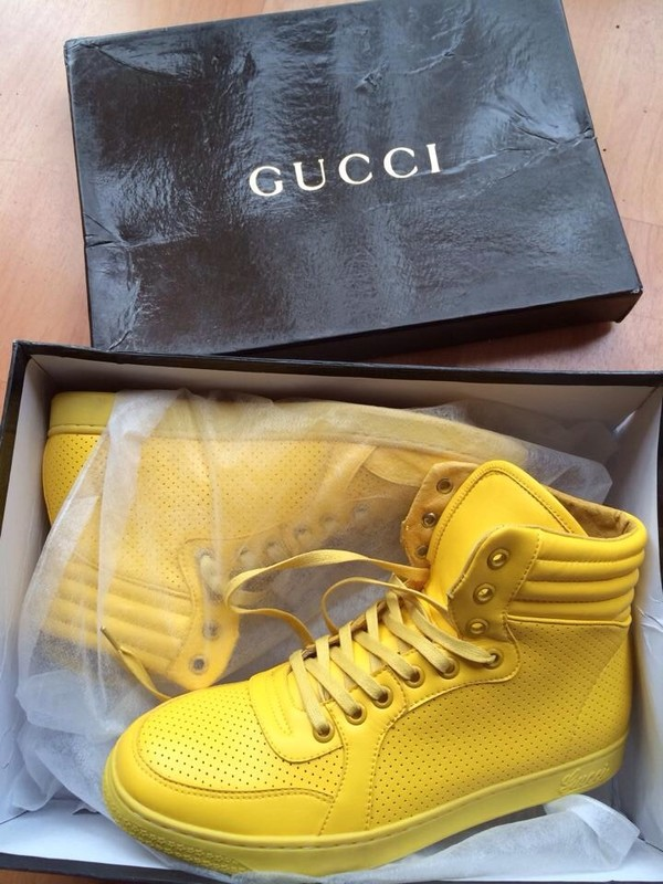 shoes gucci yellow sneakers love fashion