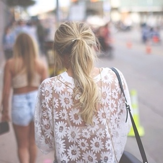 white top see through floral top shoulder bag shirt
