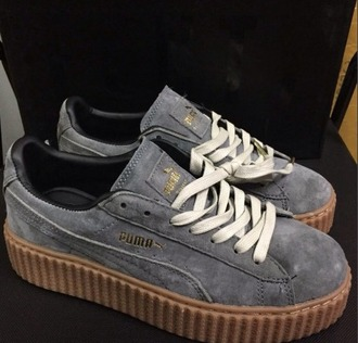 shoes girl girly girly wishlist puma puma sneakers puma creepers rihanna x puma creepers grey suede