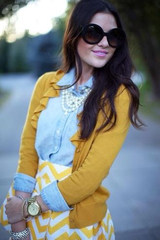 skirt mustard yellow chevron mustard skirt blouse sweater cardigan ruffle