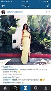 dress,yellow lace maxi dress worn by @walkinwonderland