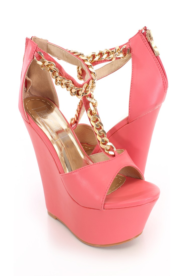 Coral Chain T Strap Wedges Faux Leather