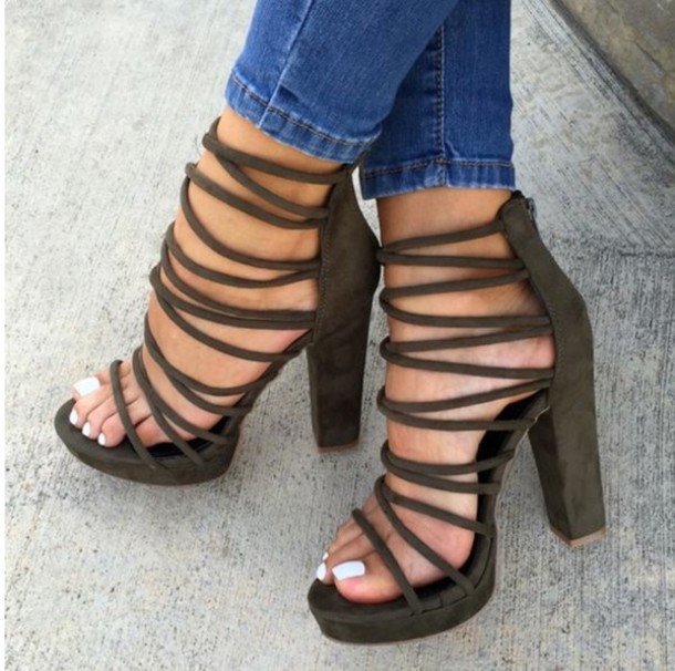 Shoes: olive green, green, heels, laced up heels, lace up, strappy ...