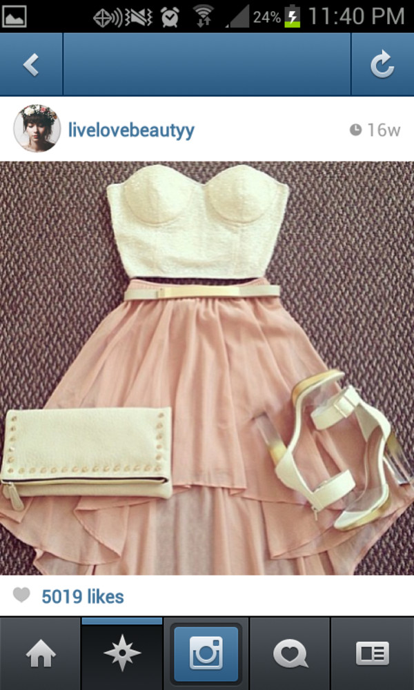 skirt high low belt crop tops high heels bag shirt shoes high low dress pink