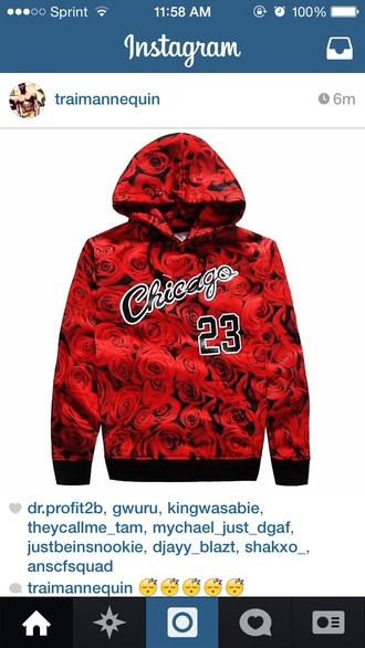 red sweater roses hoodie chicago bulls beanie