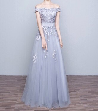 dress girly girl girly wishlist prom prom dress grey grey dress maxi maxi dress dressofgirl love lovely pretty cool cute cute dress bridesmaid amazing floral lace lace dress tulledress off the shoulder nice sexy princess dress a line dress formal dress ball gown dress applique long prom dresses