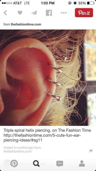 jewels earing spiral cartilage earring triple