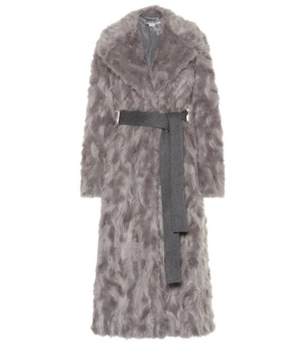 Stella McCartney Belted faux fur coat in grey