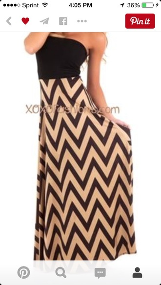 dress brown tan maxi dress chevron