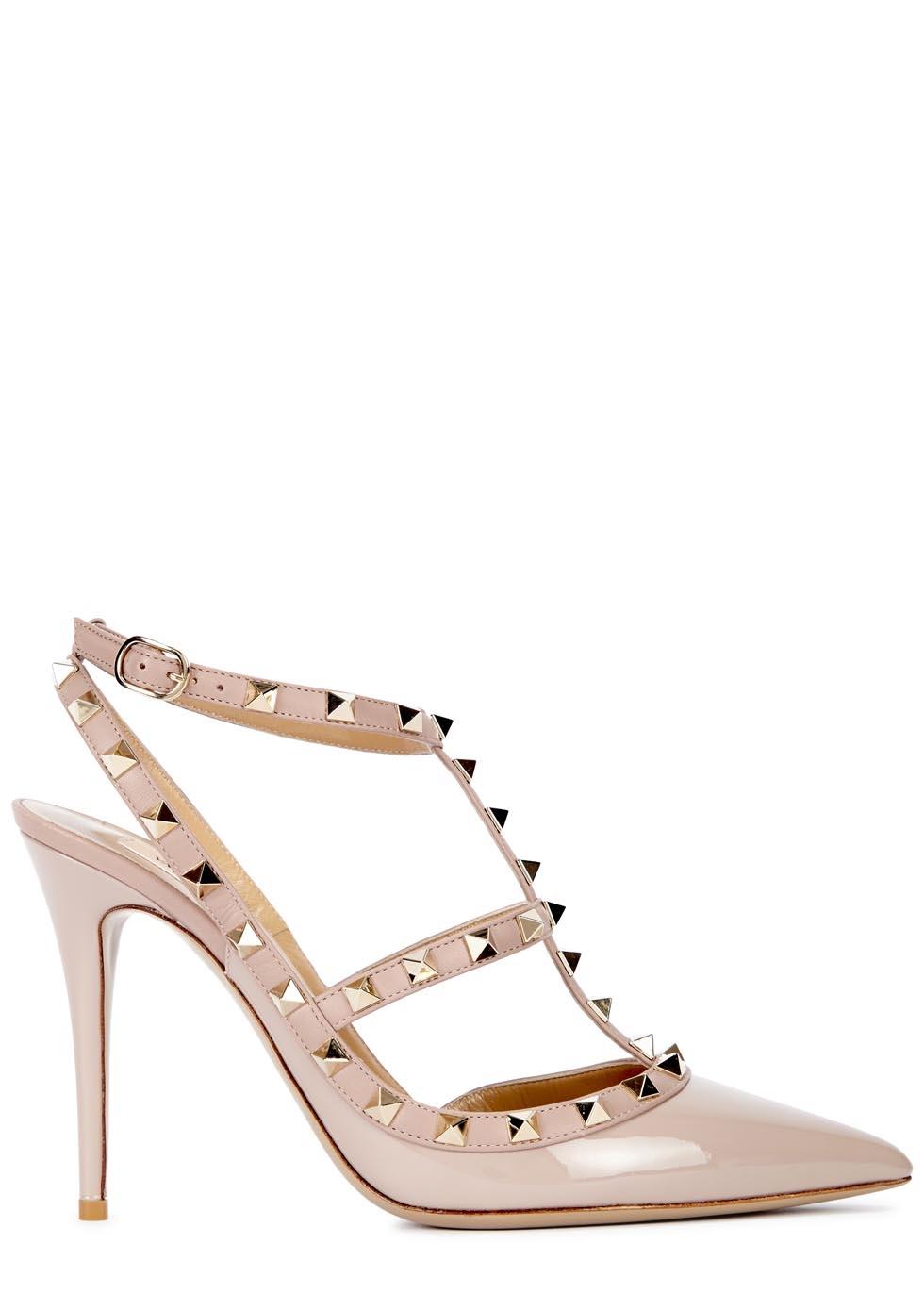 6f52ddfaeca Valentino Rockstud 100 blush patent leather pumps