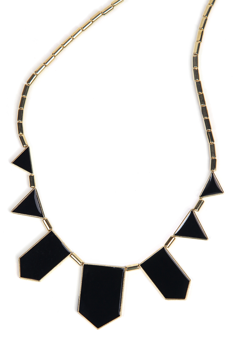 Black Collar Geometry Irregular Pendant Necklace - Sheinside.com