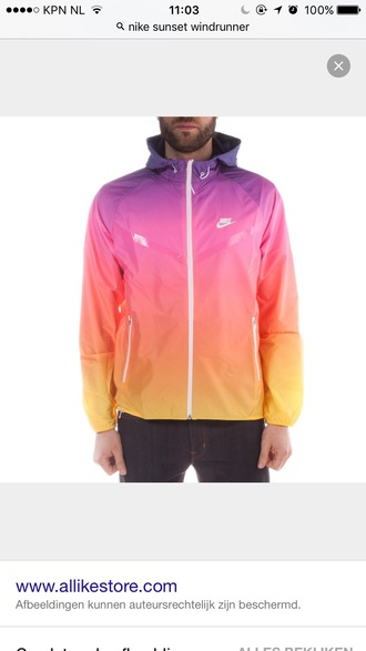 jacket nike sunset windrunner rainbow menswear workout summer sun yellow pink orange