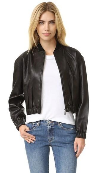 cropped leather black jacket