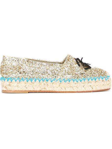 Chiara Ferragni glitter espadrilles yellow orange shoes