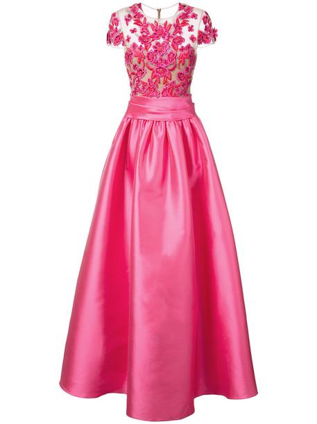 Marchesa Notte gown romantic women embellished purple pink dress