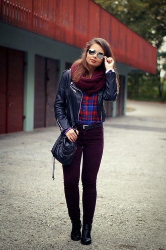 a piece of anna blogger bag jewels scarf jacket leather jacket burgundy flannel shirt