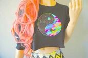 top,girl,hair,colorful,fantasy,yinyang symbol,grunge,indie