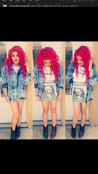 t-shirt swag jacket veste bleu jewels jean vest skirt