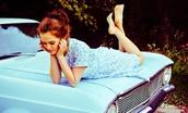 zoey deutch,gown,car,convertible,vehicle,dress,blue,weekend escape