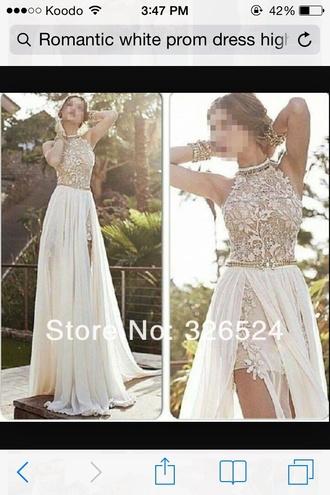 dress prom dress white lace beads chiffon side split full length