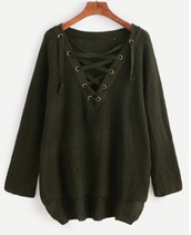 sweater,olive green,khaki,lace up,knit,knitwear,knitted sweater,fall sweater,fall colors