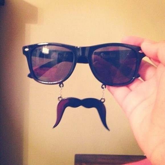 sunglasses glasses black glasses hipster moustache