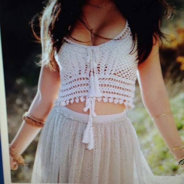 tank top crochet crop top white crop tops skirt