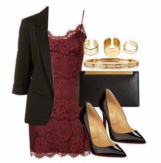 dress red dress evening dress elegant dress black black shoes black jacket black purse three rings bracelets purse jacket shoes jewels