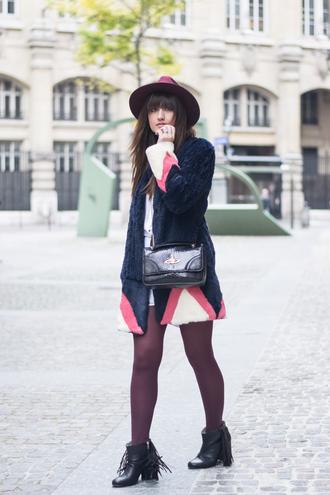 meet me in paree blogger hat fur coat fringe shoes vivienne westwood