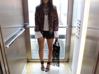 style by nelli blogger jacket jewels shorts blouse bag shoes