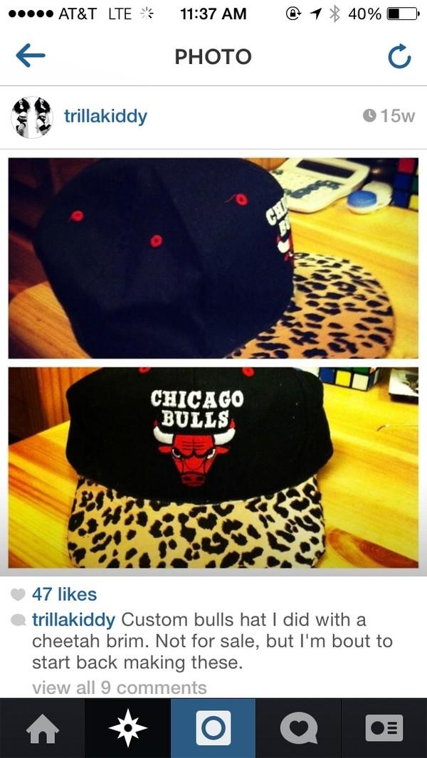 hat leopard print leopard print chicago bulls black red snapback