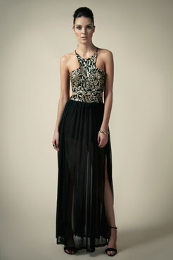 Boutique Billie Tie Back Mesh/Sequin Maxi Dress at boohoo.com