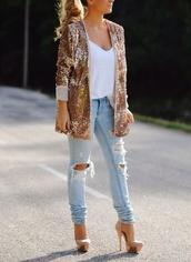 jacket,blazer,gold sequins,shoes