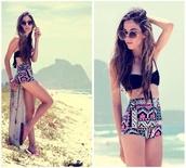 swimwear,colorful,tribal pattern,aztec,summer,high waisted bikini,sunglasses
