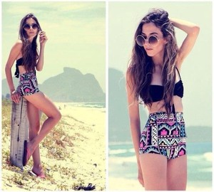tribal print aztec print colorful summer swimwear highwaisted bikini