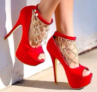 shoes red red shoes chain