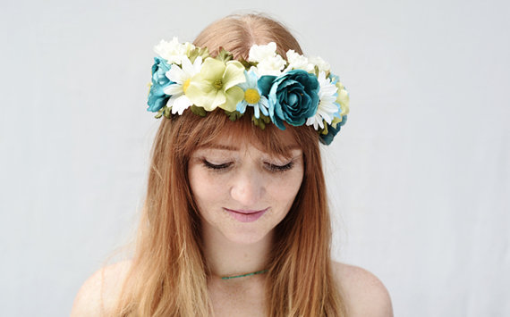 Turquoise Green and White Flower Crown  Daisy by BloomDesignStudio