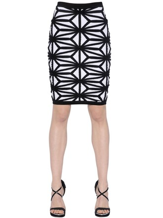 skirt knit jacquard geometric wool white black