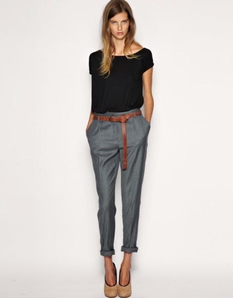 pants clothes basic shirt t-shirt belt grey peg trousers black t-shirt brown belt work style chic