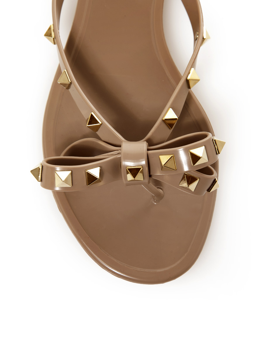 Valentino | PVC Rockstud Thong Sandal With Bow | The September
