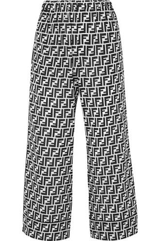 pants wide-leg pants cropped black silk
