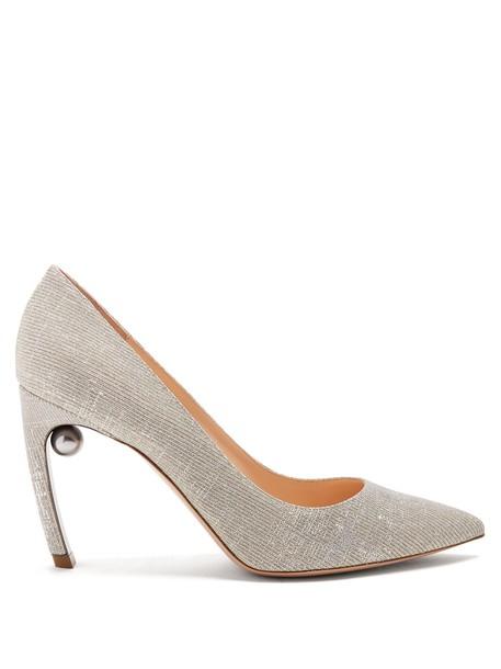 Nicholas Kirkwood pearl pumps silver shoes